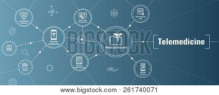 Telemedicine Header Banner For Web - Icon Set W Telehealth, Ehr, Phr, Emr