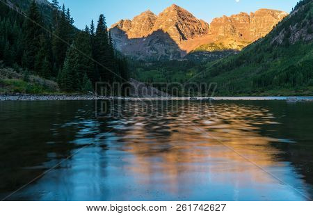 Alpine Glow At Perfect Sunrise Maroon Lake Reflections Of Natural Beauty In The Rocky Mountains. Asp
