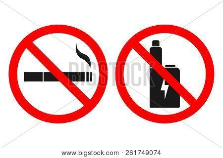 No Vaping Sign. No Smoking Sign. Vector.