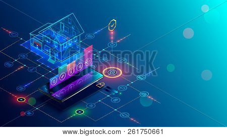 Smart Home With Internet Of Things Isometric Concept. Iot Technology In House Automation Design. Sma
