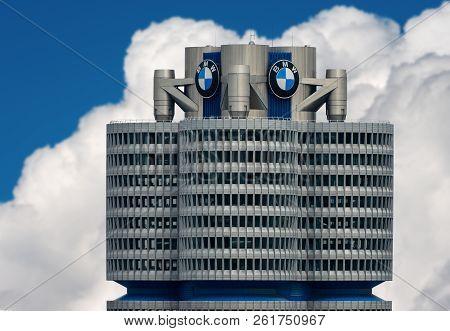 Munich, Germany - Sept 8, 2018: The Tower Of The Bmw (bmw-vierzylinder Or Bmw-turm) Landmark Serving