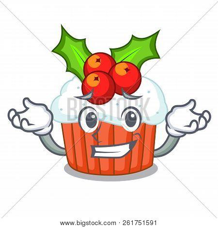 Grinning Cartoon Homemade Christmas Cupcakes With Sprinkles