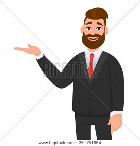 Happy Businessman Showing Hand Gesture Copy Space To Present Or Introduce Something. Presentation, A