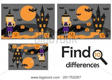 Find 10 Differences, Game For Children, Halloween Picture In Cartoon Style, Education Game For Kids,