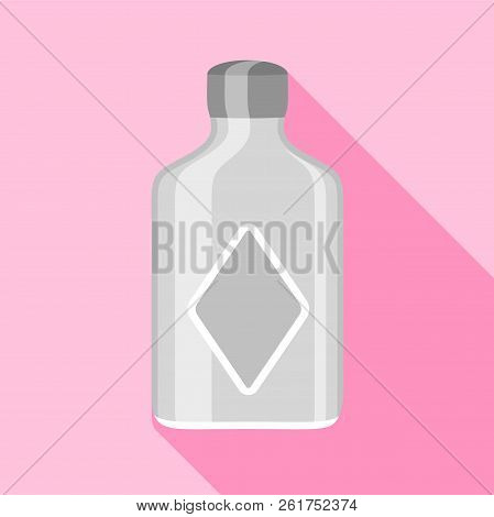 Clear Glass Bottle With Squared Sides Icon. Flat Illustration Of Clear Glass Bottle With Squared Sid