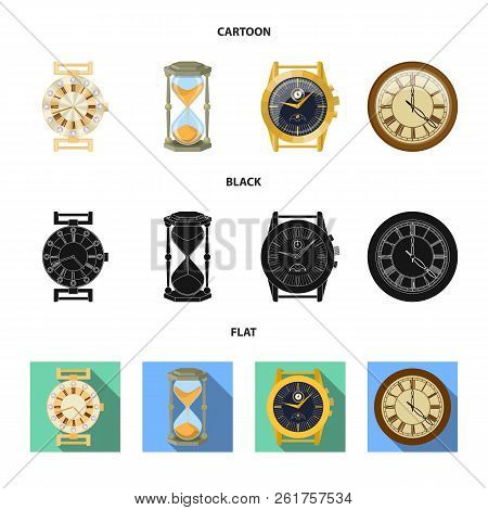 Vector Illustration Of Clock And Time Symbol. Collection Of Clock And Circle Stock Vector Illustrati