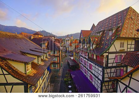 View Of Old French Style Public Building At, Colmar Bukit Tinggi During Sunrise.