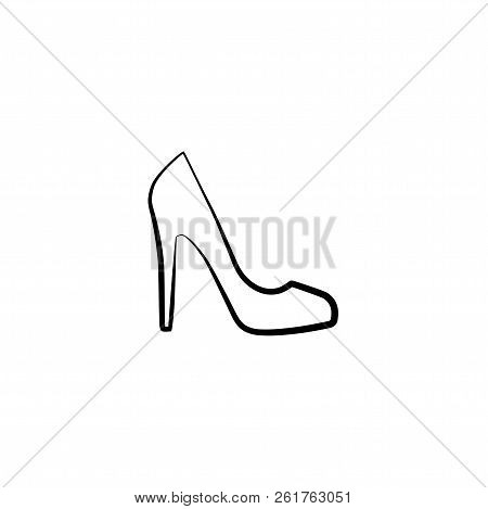 Female Shoe With High Heel. Elegant Black Slipper With Spike Heel On While Background. Vector Illust