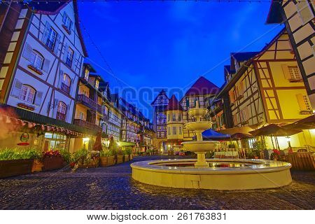 View Of Old French Style Public Building At, Colmar Bukit Tinggi During Blue Hour.