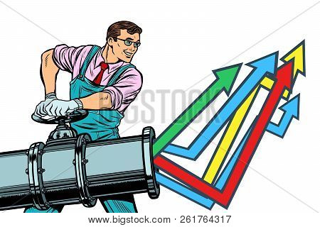 Businessman Opens Pipe, Growth Chart Up. Plant And Industry. Isolate On White Background. Pop Art Re