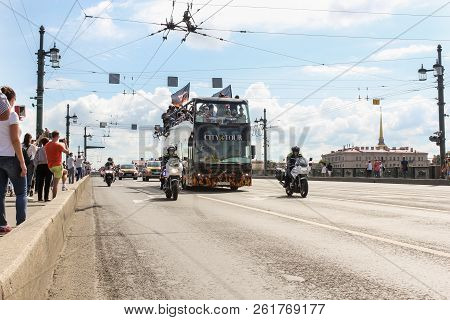 St. Petersburg, Russia - 4 August, A Bus At The Head Of A Motor Parade, 4 August, 2018. Parade Of Ha