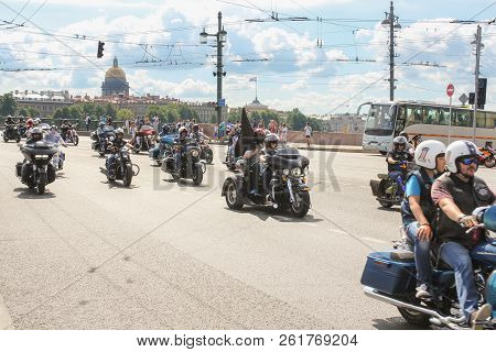 St. Petersburg, Russia - 4 August, Participants Of Motor Parade, 4 August, 2018. Parade Of Harley Da