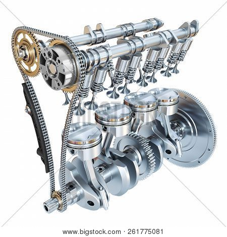 System Of Internal Combustion Engine Isolated On White Background. 3d Render