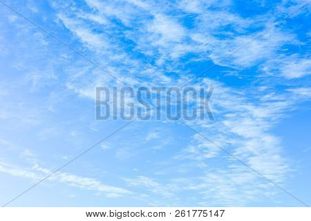 Background. Blue Sky With Feathery Clouds, Beautiful Clouds