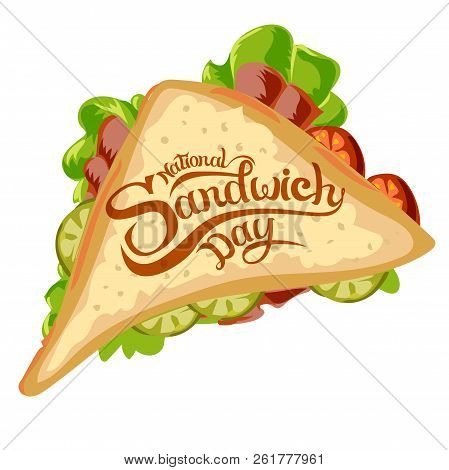 Happy Sandwich Day. Vector Illustration. Hot Sandwich