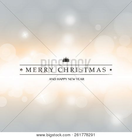 Colorful Modern Style Happy Holidays, Merry Christmas Greeting Card With Label On A Sparkling Blurre