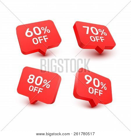 Banner 60 70 80 90 Off With Share Discount Percentage. Vector Illustration