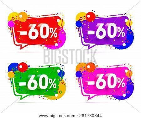 Banner 60 Off With Share Discount Percentage, Color Set. Vector Illustration
