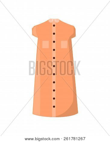 Stylish Summer Dress With Pockets And Buttons. Light Clothes Of Pastel Color. Fashionable Frock With