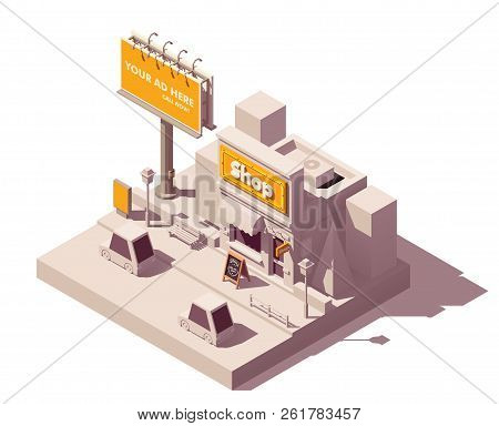 Vector Isometric Low Poly Outdoor Advertising Media Types And Placement Locations Illustration Repre