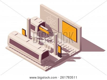 Vector Isometric Low Poly Outdoor Advertising Media Types And Placement Locations Illustration. Adve