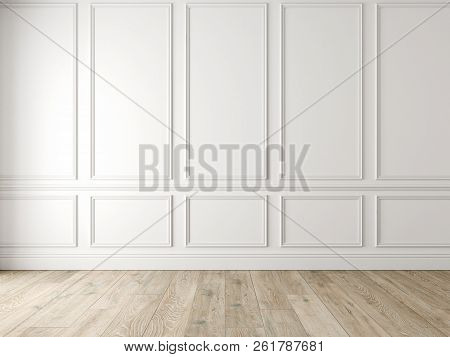 Modern Classic White Empty Interior With Wall Panels And Wooden Floor. 3d Render Illustration Mock U