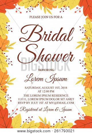 Autumn Bridal Shower Invitation Card. Border With Colorful Leaves And Berries. Fall Theme Bridal Par