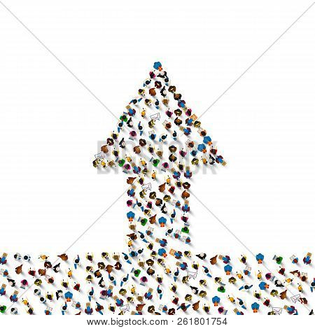 Large Group Of People In The Shape Of A Grossing Arrow, Way To Success Bussiness Concept , Vector Il