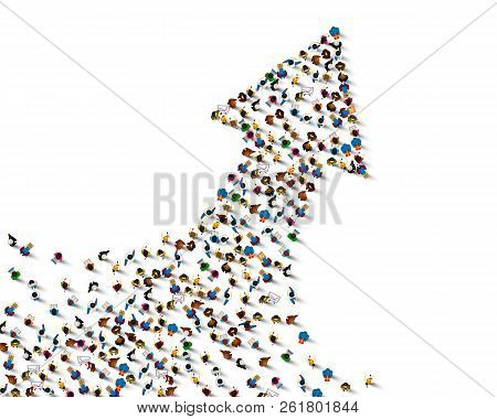 Large Group Of People In The Shape Of A Grossing Arrow. Way To Success Bussiness Concept. Vector Ill