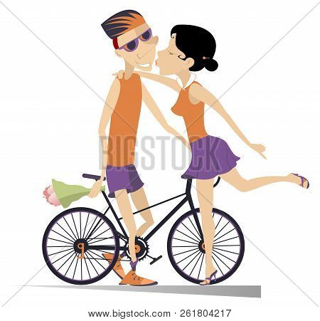 Woman Kissing A Cyclist Man Who Has Won The Race Illustration. Young Woman Kissing A Cyclist With Th
