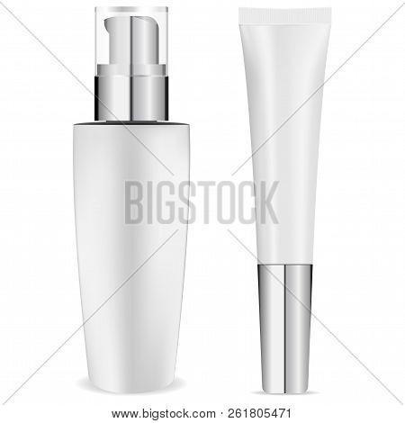 White Tonal Cream Bottle And Tube Set. Vector Design Illustration. Tonal Basis 3d Bottle And Tube Re