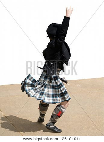 Young Boy Competing in a Highland dance competition