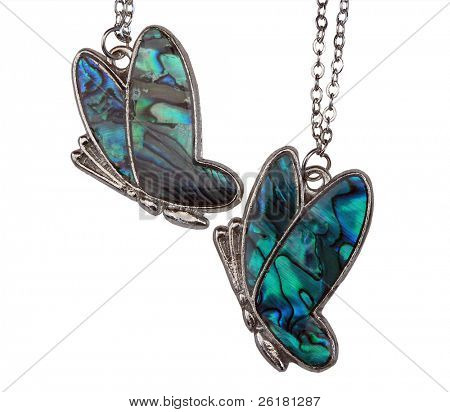 Two Paua Shell Butterflies on chains