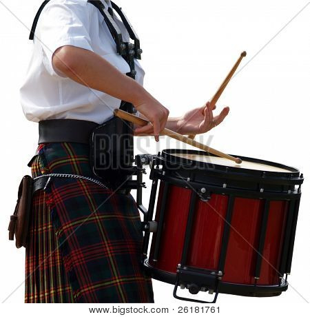 The hands of the drummer isolated with clipping path