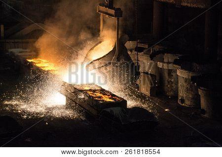 metallurgy, metal production metal casting, ladle hot metal poster