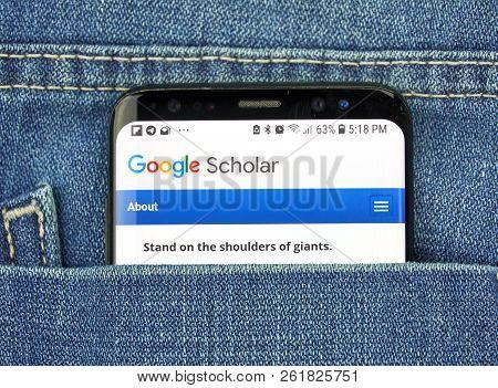 Montreal, Canada - October 4, 2018: Google Scholar On S8 Screen. Google Scholar Is An Online Service
