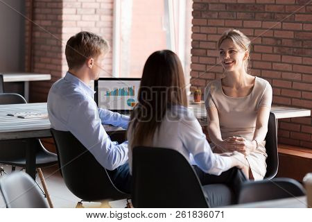 Smiling Friendly Business People Chatting Sharing Ideas During O