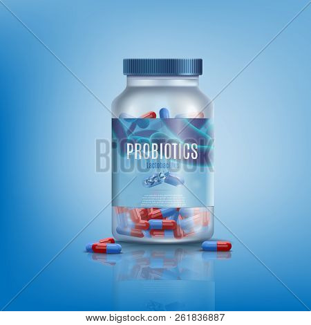 Probiotics Pills In Branded, Transparent Glass Or Plastic Jar Or Bottle Realistic Vector On Gradient