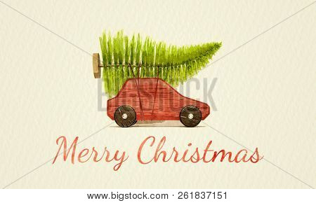 red toy car with green christmas tree water color painting illustration