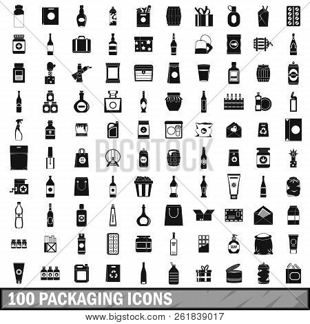 100 Packaging Icons Set In Simple Style For Any Design Illustration