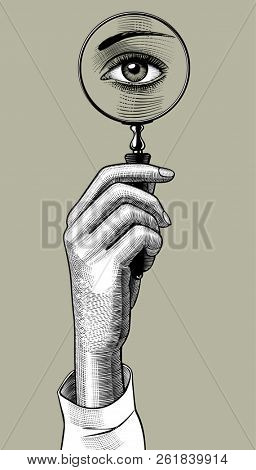 Woman's hand holding a magnifying glass with eye inside. Retro style search sign and icon. Vintage engraving stylized drawing