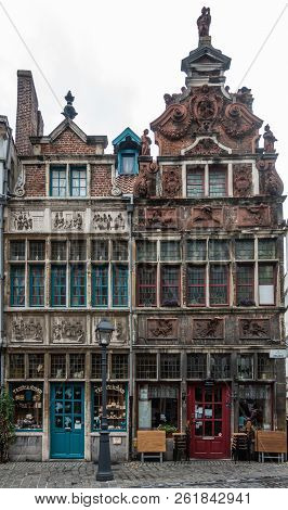Ghent, Belgium - September 23, 2018: Seven Works Of Mercy House And The Flutist House In Kraanlei Ar