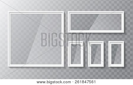 Realistic Blank Picture Or Photograph Frame. Vector Glass White Photoframe For Interior Artwork Desi