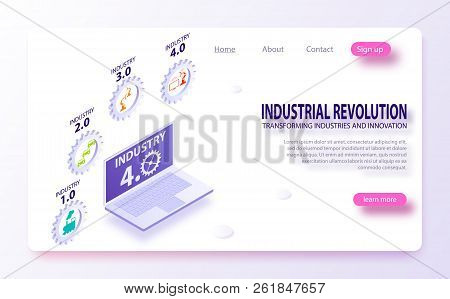 Infographics Industrial Internet Of Things Concept. Physical Systems, Cognitive Computing Industry 4