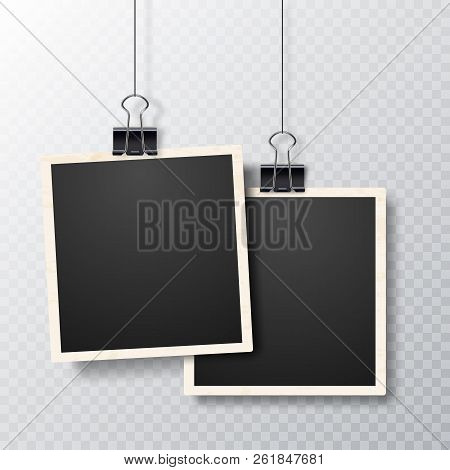 Retro Realistic Vector Photo Frame On Transparent Background. Realistic Vector Photo Frame With Stra