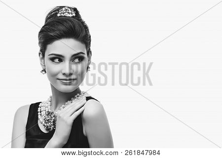Beautiful Young Woman In Retro Style Isolated On White