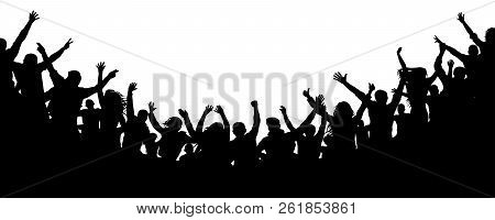 Cheerful People Crowd Applauding, Silhouette Vector. Cheers Party, Applause. Fans Dance Concert, Dis