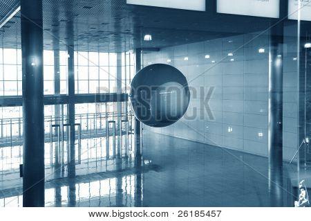 modern  entrance hall,handing ball, moving crowd,