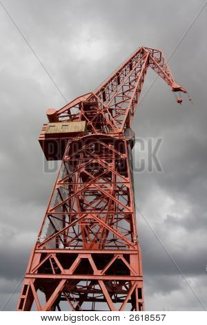 Red Crane Over Grey