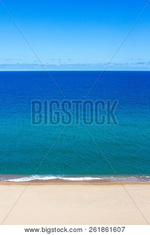 Summer Background - Blue Sky, Sea And Yellow Sandy Beach